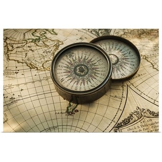 """Antique compass on map"" Poster Print"