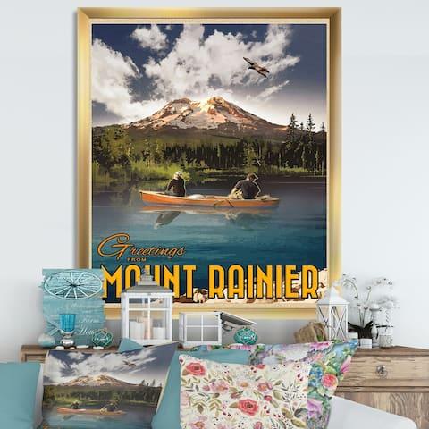 Designart 'Mt Rainier' Lake House Framed Art Print