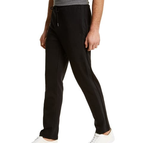 Calvin Klein Mens Track Pants Black 2XL Mixed Media Side Stripe Jogger