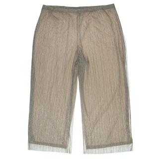 MSK Women Womens Plus Metallic sheer Wide Leg Pants