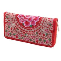 Lady Embroidered Flower Design Zipper Closure Coin Purse Money Wallet Holder Red