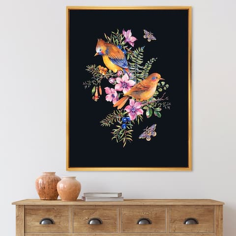 Designart 'Little Bird on Colourful Bouquet of Wildflowers II' Traditional Framed Canvas Wall Art Print