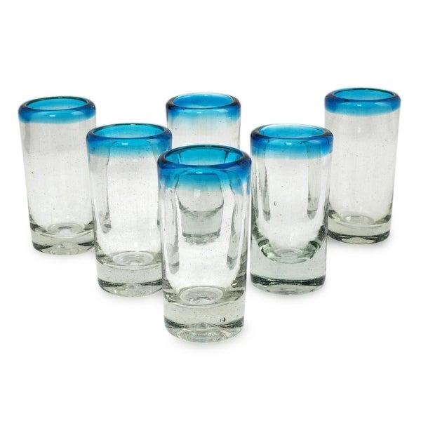 "Handmade Blown Aquamarine Shot Glasses(Mexico) - 3.9"" H x 2.0"" Diam.. Opens flyout."