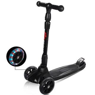 Goplus Folding 3 LED Light Up Wheel Kids Kick Scooter Adjustable Height For Boys Girls - Black