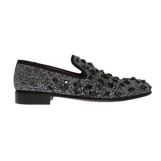 Dolce & Gabbana Black Suede Crystal Strass Loafers - eu44-us11