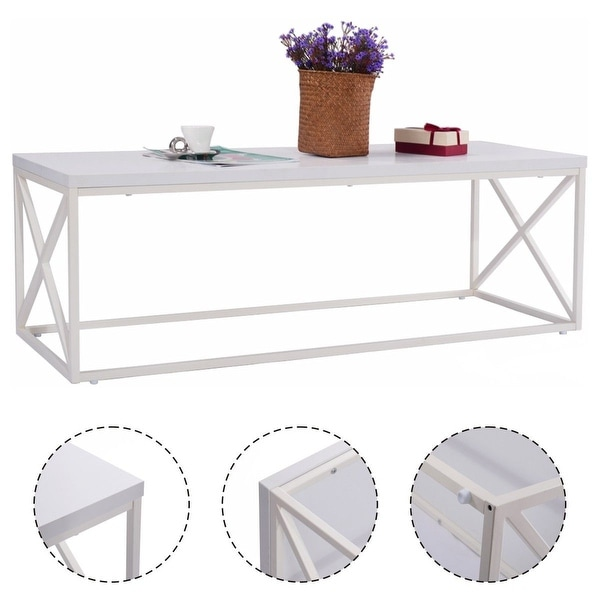 Shop Costway Rectangular Accent Coffee Table Modern
