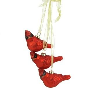 "10"" Miniature Glittered Red Glass Cardinal Bird Decorative Christmas Ornament"
