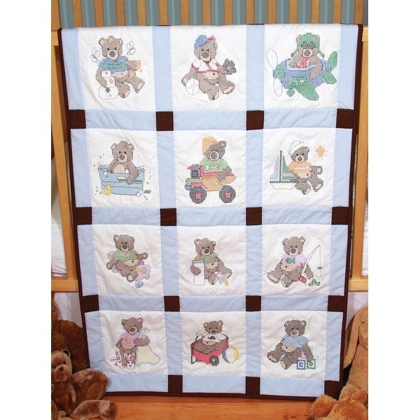 "Stamped Baby Quilt Blocks 9""X9"" 12/Pkg-Boy Bears"