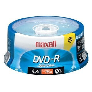 Maxell 638010 Maxell DVD Recordable Media - DVD-R - 16x - 4.70 GB - 25 Pack Spindle - 120mm - 2 Hour Maximum Recording Time