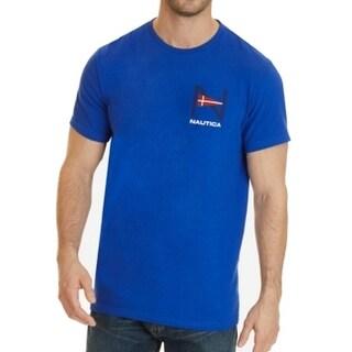 Nautica NEW Blue Mens Size Large L Geo-Flag Logo Tee Crew Neck T-Shirt