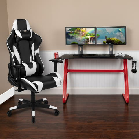 Desk Bundle - Gaming Desk, Cup Holder, Headphone Hook and Reclining Chair