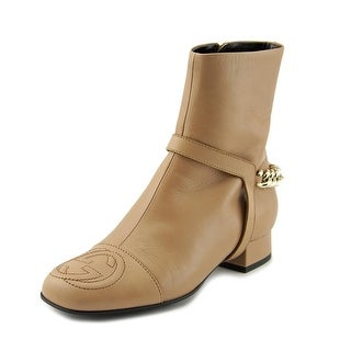 Gucci Lifford Round Toe Leather Ankle Boot