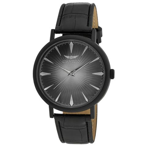 4 Colors Available- Gianello Mens Sunburst Dial Round Case Strap Watch