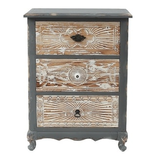 Shabby-Chic Carved Wood 3-Drawer Chest