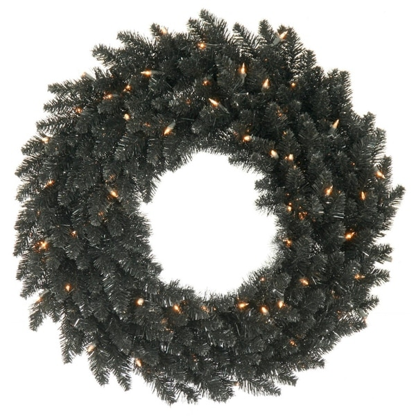 "36"" Pre-Lit Black Fir Artificial Halloween or Christmas Wreath - Clear Lights"