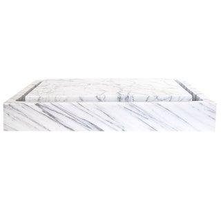 Eden Bath Rectangular Infinity Pool Sink - White Carrara Marble