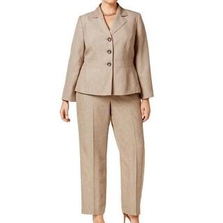 Le Suit NEW Brown Light Pebble Women's 18W Plus Collared Pant Suit Set