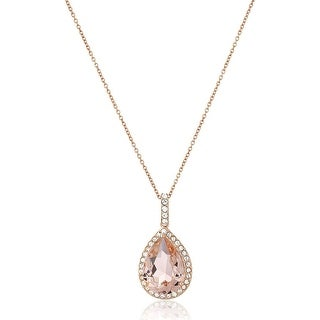 Crystaluxe Pear Pendant With Pink Swarovski Crystals In 14K Rose Gold Plated Sterling Silver 18
