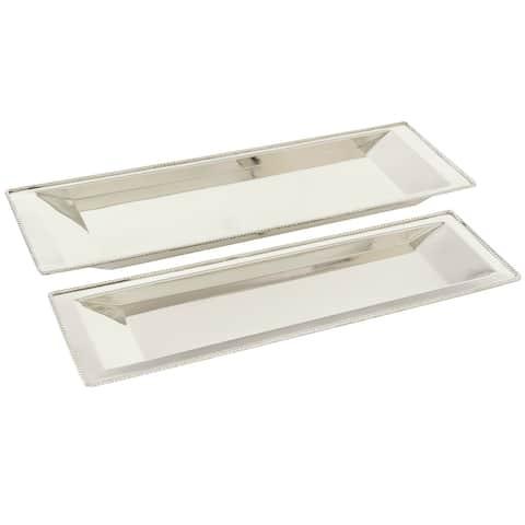 "Rectangular Steel Trays Set Of 2 25"" 22"" - 25 x 8 x 1"
