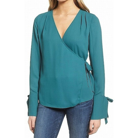 Trouve Teal Blue Womens Size Large L Tie Wrist Surplice Wrap Top