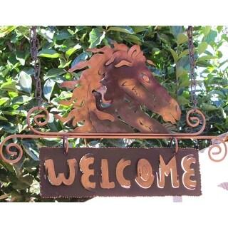 Golden Horse Indoor Outdoor Garden or Patio Brown and Gold Equine Rustic Decor Accent Animal Metal W