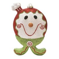 "9"" Merry & Bright Red  White and Green Glittered Shatterproof Gingerbread Boy Christmas Ornament"
