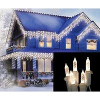 Set of 70 Warm White LED M5 Icicle Christmas Lights – White Wire