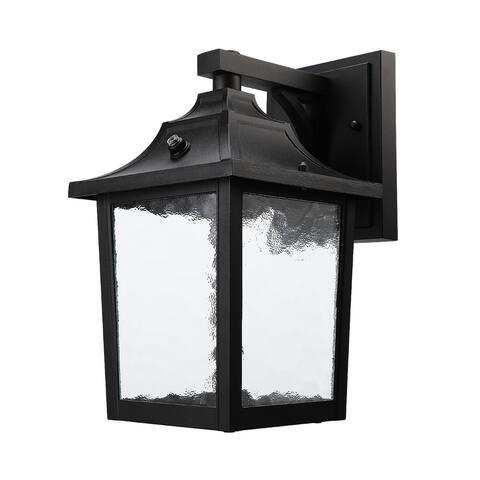 Outdoor Wall Lantern, Glass Waterproof Fixtures, Black Aluminum Shade