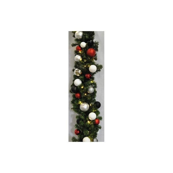 Christmas at Winterland WL-GARBM-09-MOD-LWW 9 Foot Pre-Lit Warm White LED Blended Pine Garland Decorated with Modern Ornaments