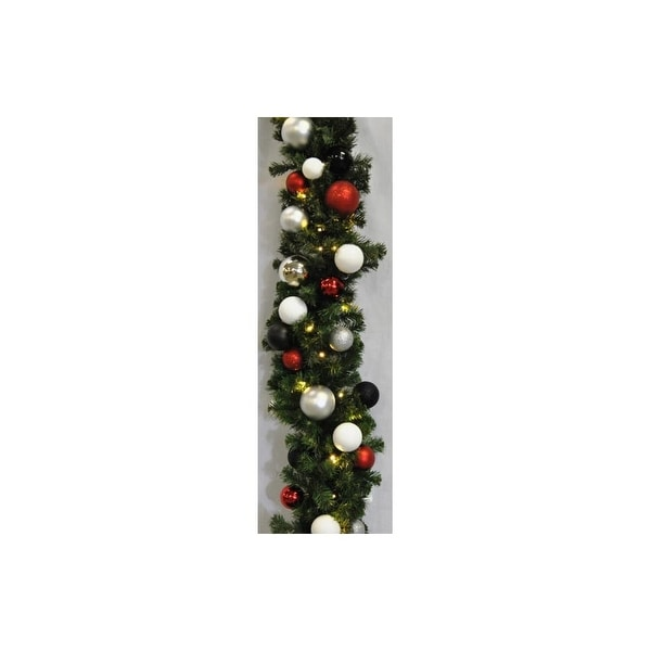 Christmas at Winterland WL-GARSQ-09-MOD-LWW 9 Foot Pre-Lit Warm White LED Sequoia Garland Decorated with Modern Ornaments Indoor