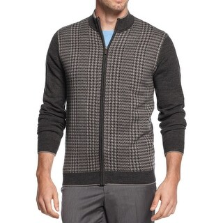 Geoffrey Beene NEW Gray Mens Size Small S Houndstooth Full Zip Sweater