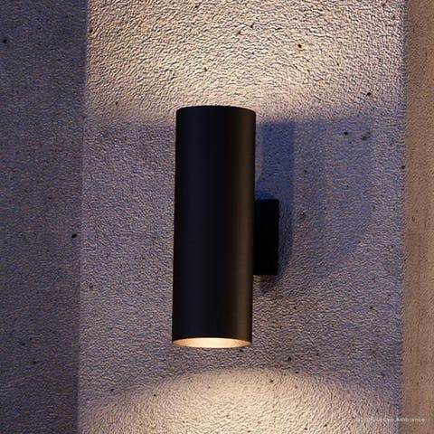 """Luxury Contemporary Outdoor Wall Light, 14""""H x 5""""W, with Art Deco Style Elements, Olde Bronze Finish by Urban Ambiance"""