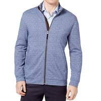 Tasso Elba Blue Mens Size 3XL Geometric Knit Full Zip Sweater