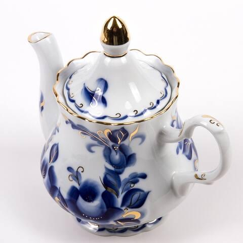 STP Goods Tatiana Gold Rim 59-Oz Blue and White Porcelain Teapot