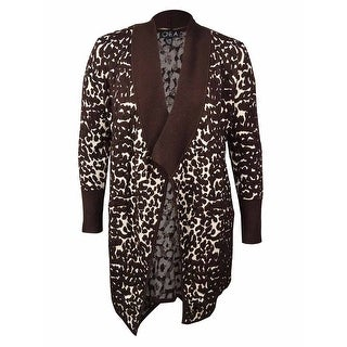 ONE A Women's Open-Front Animal Waterfall Cardigan - LXL
