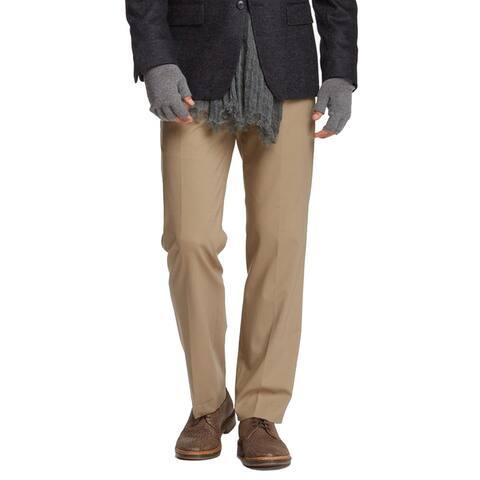 John Varvatos Collection Petro Flat Front Solid Pant, Tan, 34R