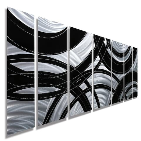 Statements2000 Black/Silver Abstract Modern Metal Wall Art Panels by Jon Allen - Crossroads
