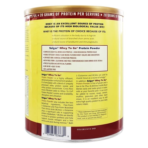 Shop Solgar - Whey To Go Protein Powder* Natural Vanilla