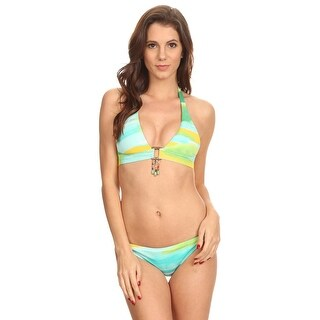 Shore Trendz Women's 2 Piece Bikini Halter Top/Hipster Bottom Sky Printed Beach Swimwear Made in USA