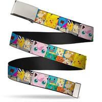 Blank Chrome Buckle Starter Pok�mon Panels W Pikachu & Meowth Webbing Web Belt