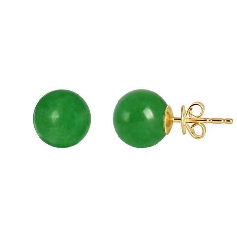 14K Green Jade Stud Earring
