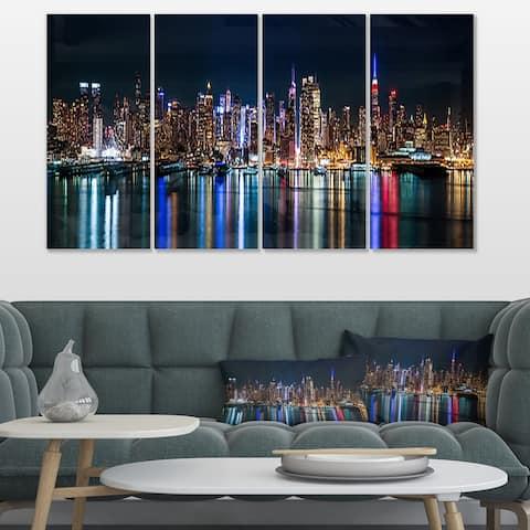 New York Midtown Night Panorama' Cityscape Wall Art on Canvas - Blue