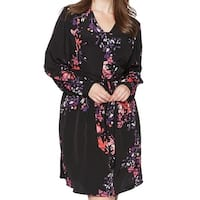 Rachel Roy Black Womens Size 22W Plus Floral Print A-Line Dress