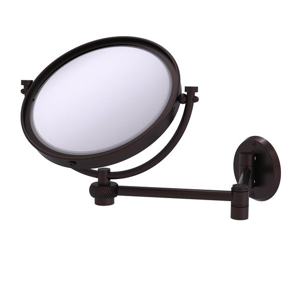 Allied Brass 8-in Wall Mounted Extending Make-Up Mirror 5X Magnification with Twist Accent