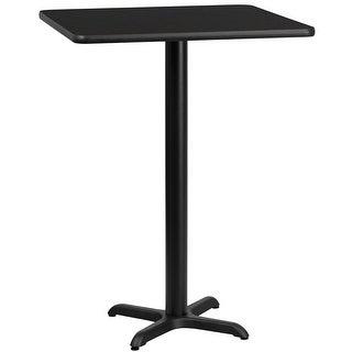"Dyersburg 30'' Square Black Laminate Table Top w/42"" High X-Base"