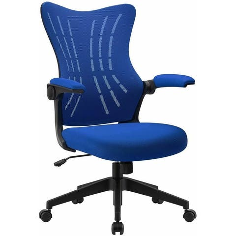 Homall Office Desk Chair with Flip Arms Mid Back Mesh Computer Chair Swivel Task Chair with Ergonomic with Lumbar Support