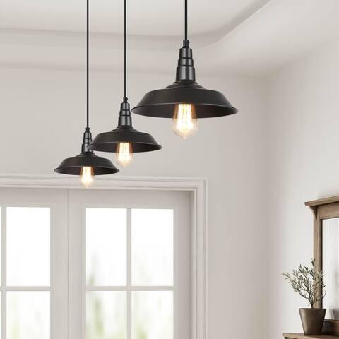 """Modern Farmhouse 3-Pack Black Barn Pendant Lighting Warehouse Ceiling Lighting - D10.2"""" x 6.5"""""""