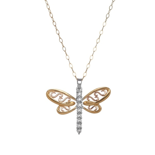 Filigree Dragonfly Pendant with Diamonds in 14K Yellow & Rose Gold-Plated Sterling Silver