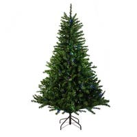 6' Pre-Lit Canadian Pine Artificial Christmas Tree - Multi LED Lights - green