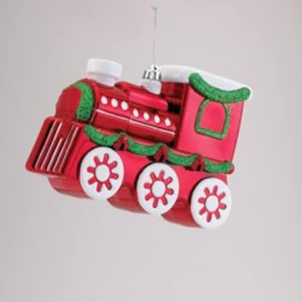 """9"""" Red and Green Glitter Embellished Express Train Christmas Ornament"""